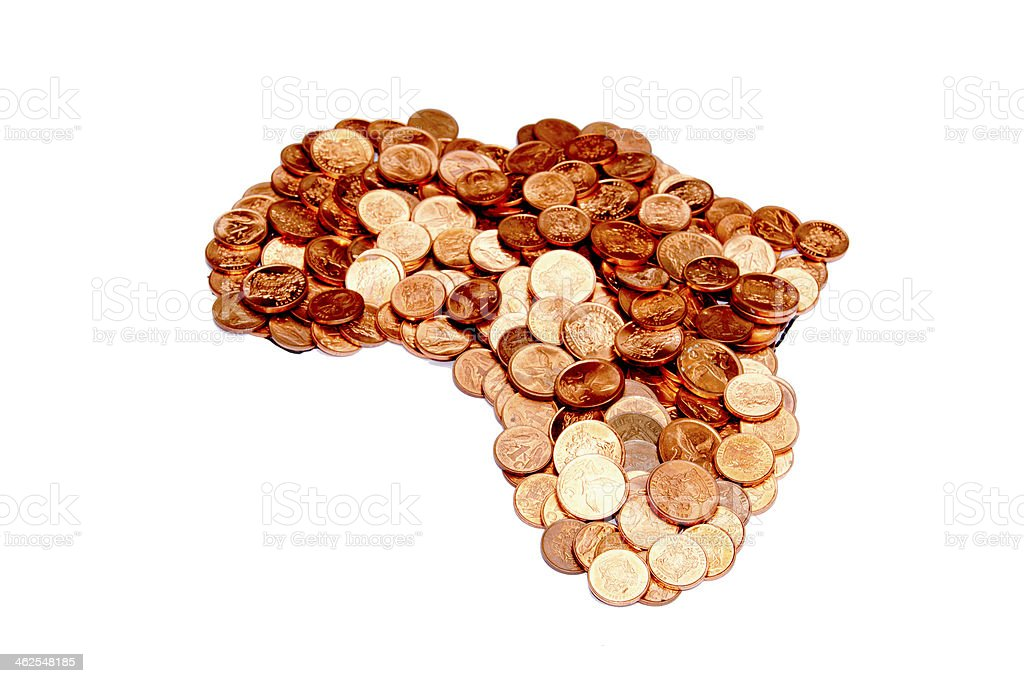 Arrangement Of South African Coins In Africa Shape stock photo