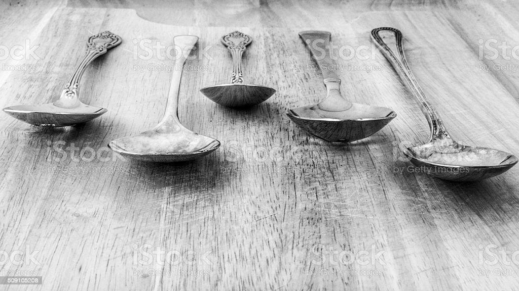 Arrangement of Spoons stock photo