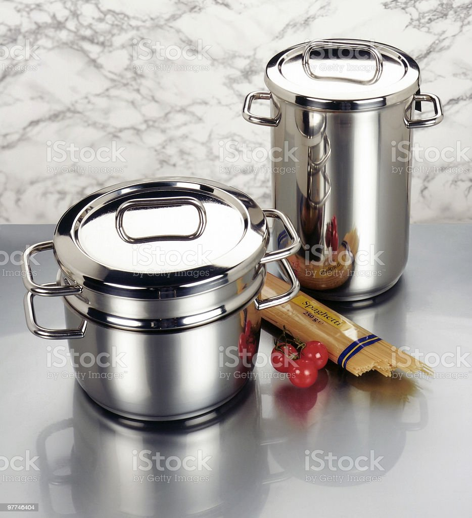 arrangement of stainless steel cookware stock photo