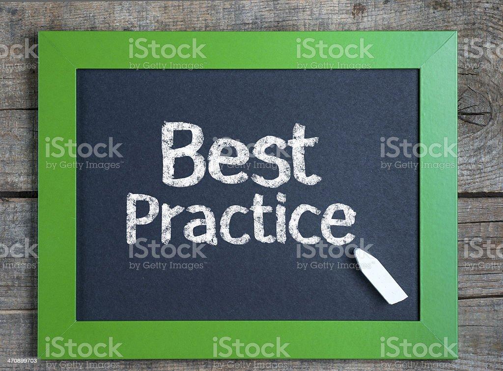 Arrangement of text Best Practice written in chalk stock photo