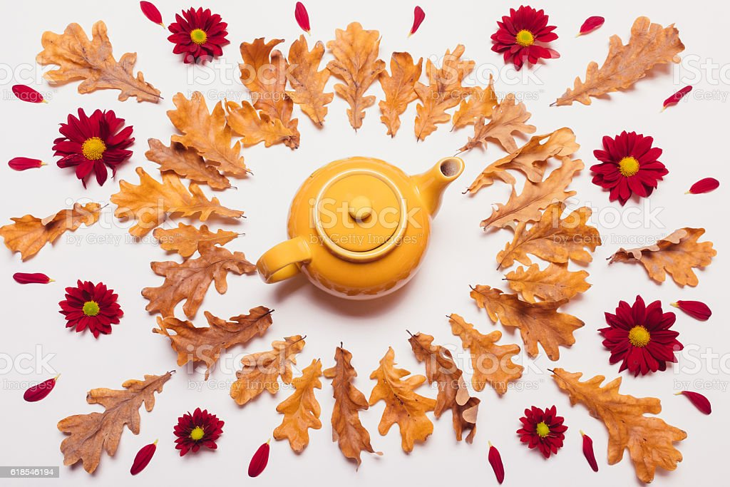 Arrangement of the yellow teapot, dry leaves and red flowers stock photo