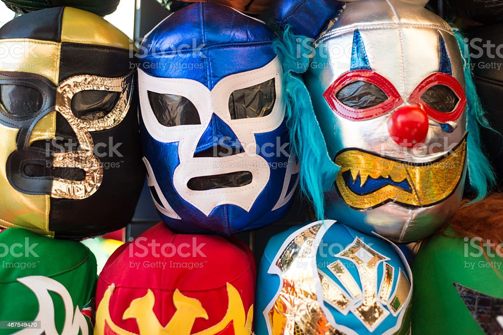 Arrangement of various luchador masks as a background stock photo