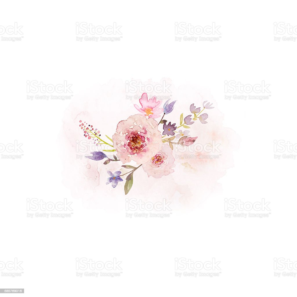 Arrangement of Vintage Watercolor Flowers (hand drawn) stock photo