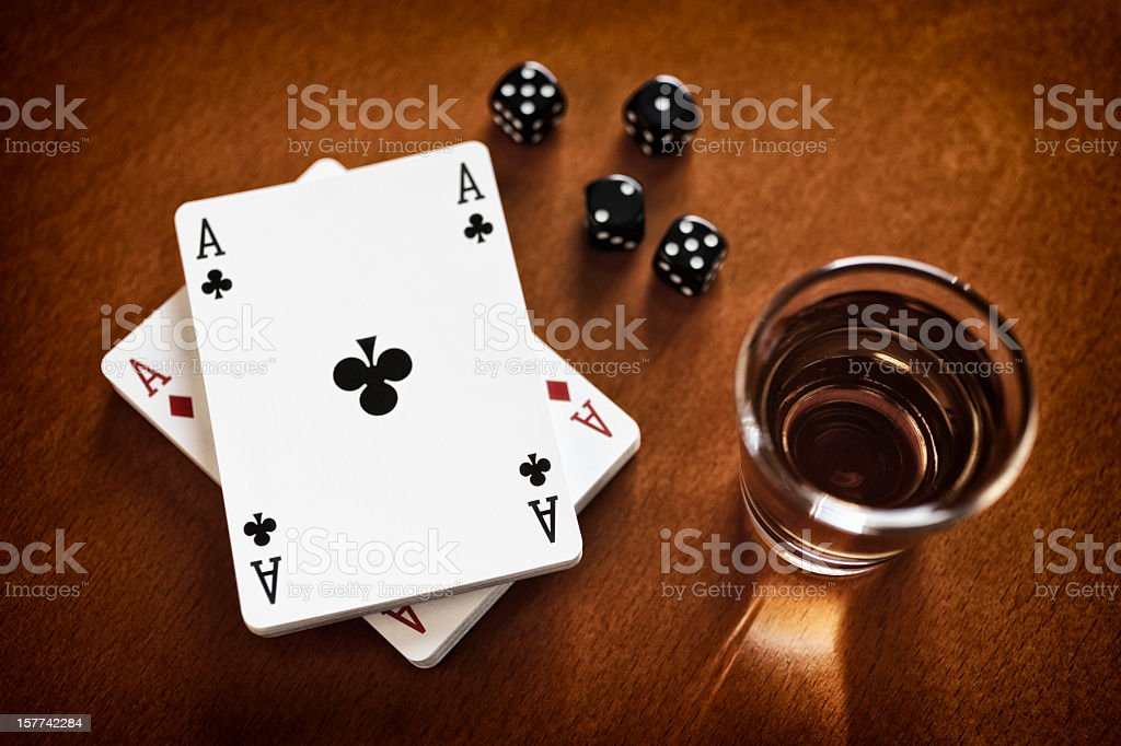 Arrangement of Whiskey, Playing Cards, Dice stock photo