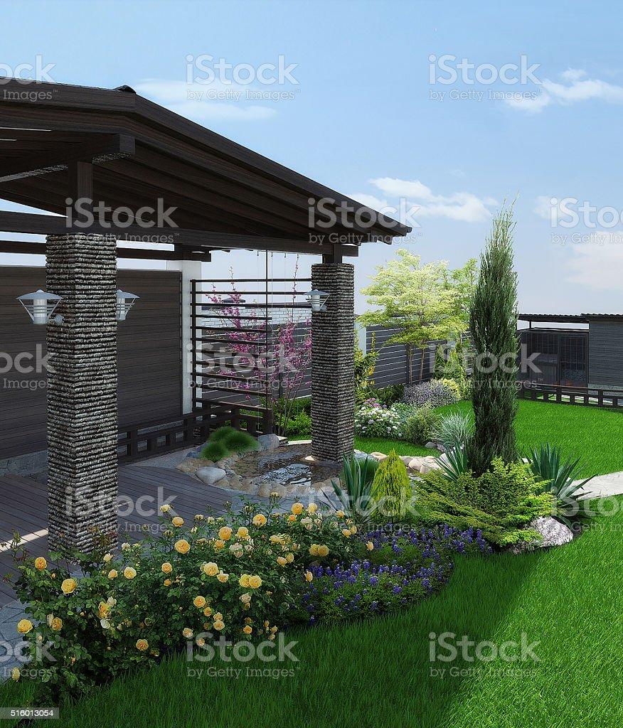 Arrangement patio living space, 3d render stock photo