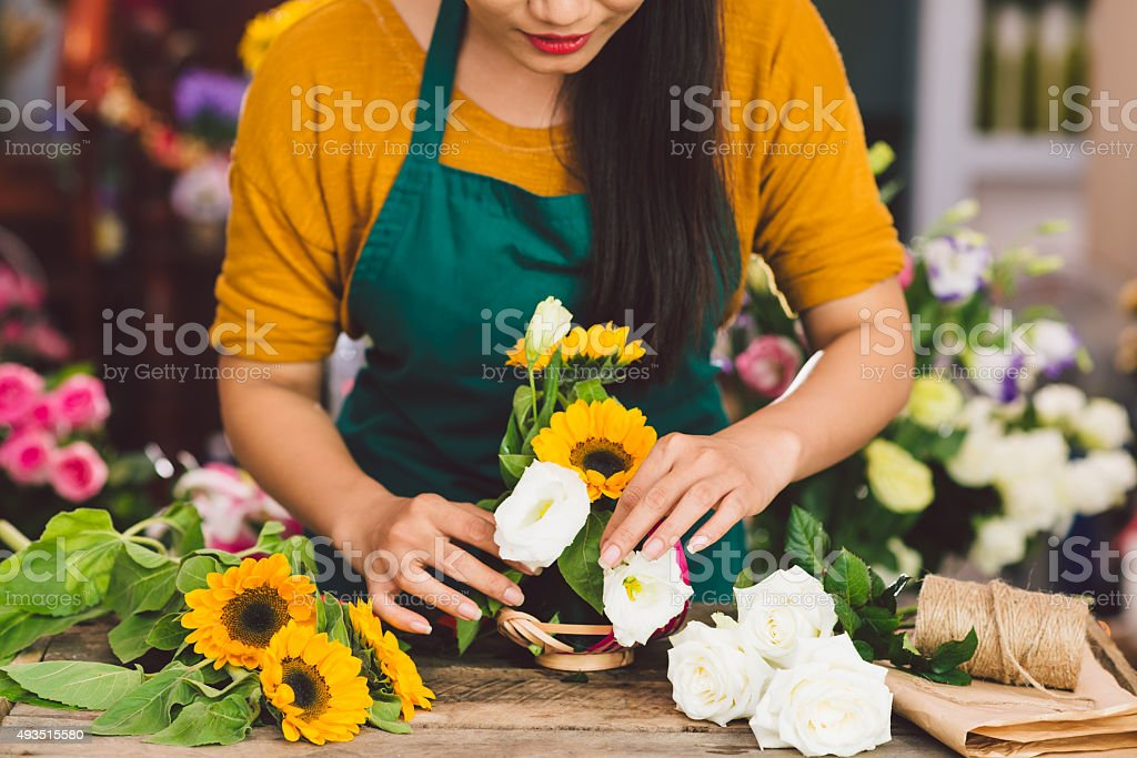 Arranging flowers stock photo
