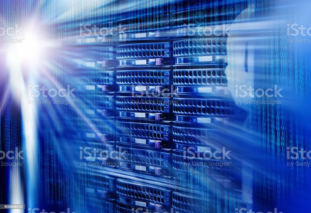 Array disk storage in data center with light effects stock photo