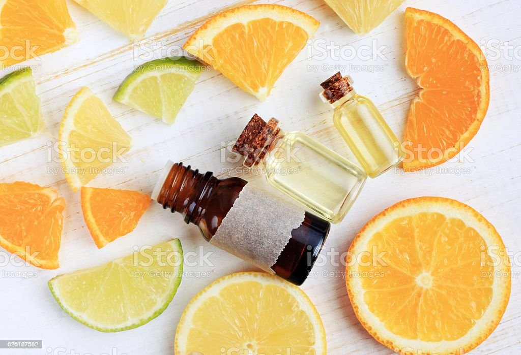 Array of Citrus scents. Natural aromatherapy. stock photo