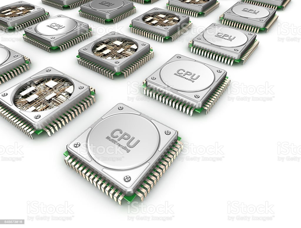 Array of CPU's . stock photo