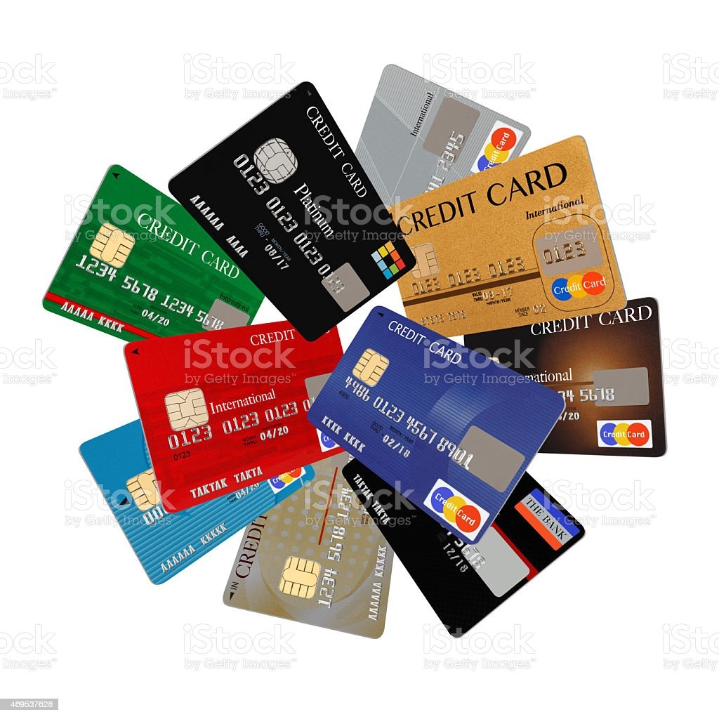 Array of different colored credit cards stock photo