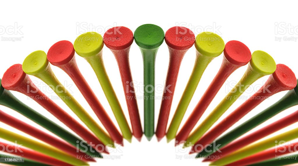 Array of Florescent Golf Tees royalty-free stock photo