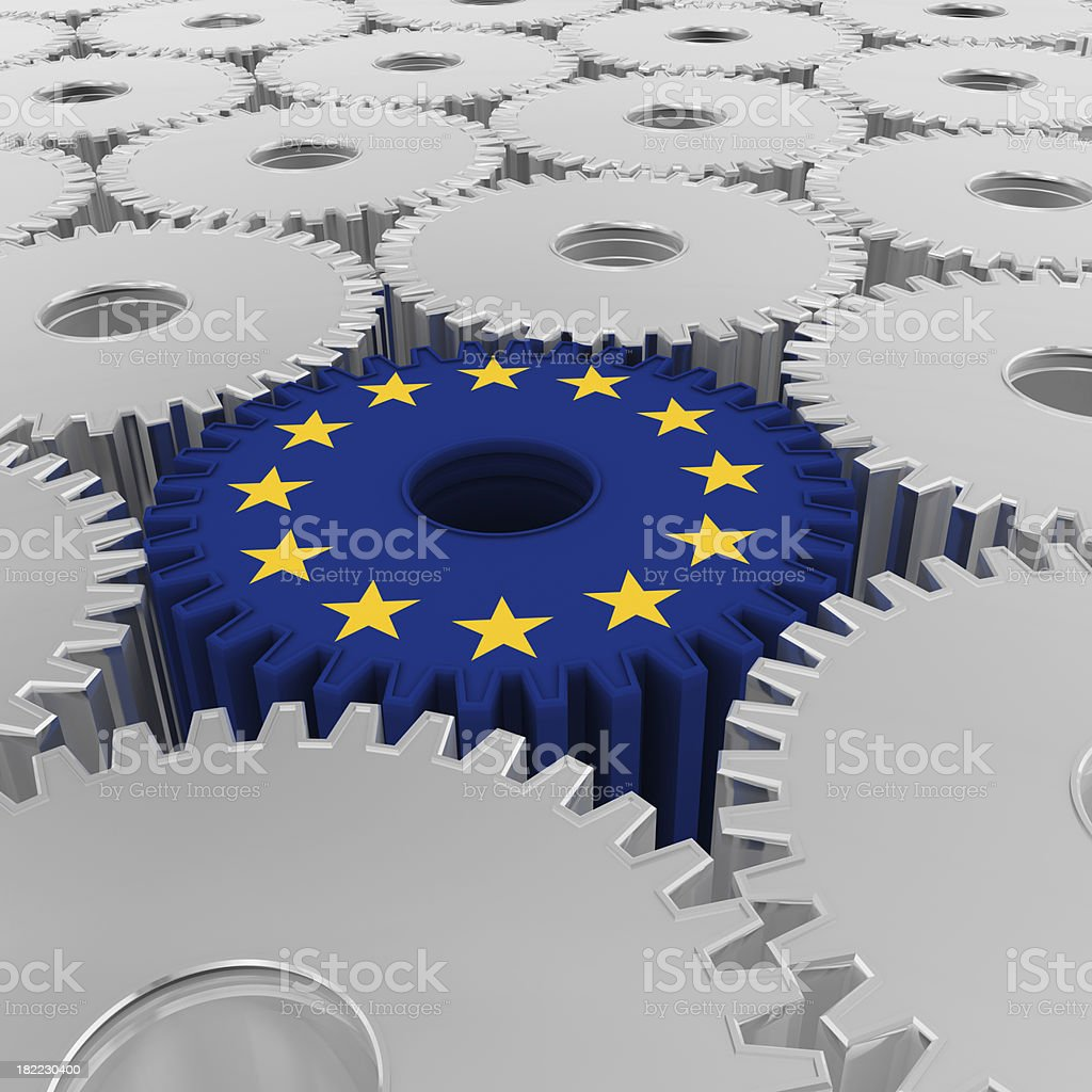 Array Silver Gears and  European Union Flag royalty-free stock photo