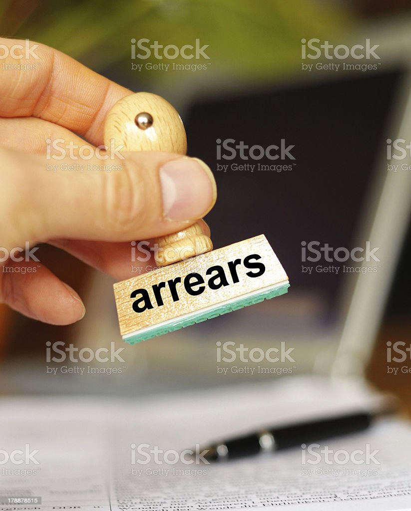 arrears stock photo