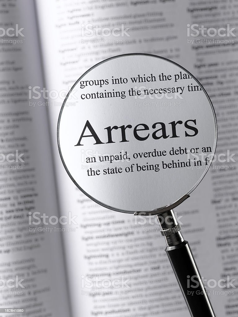 arrears royalty-free stock photo