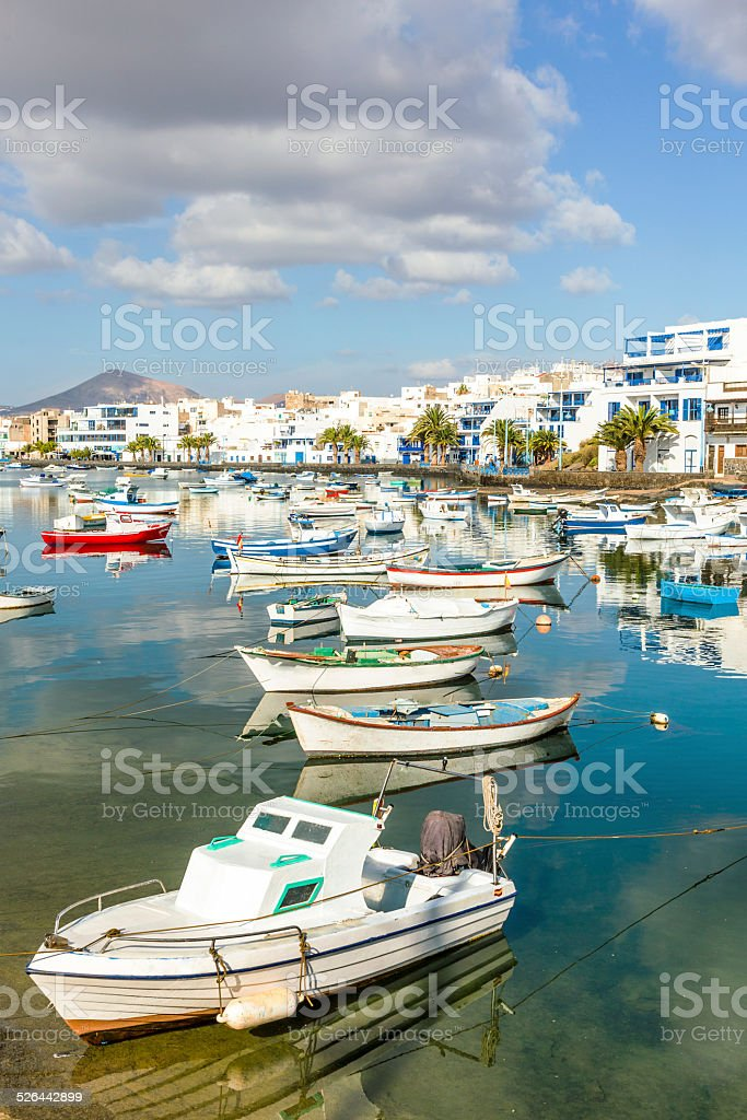 Arrecife in Lanzarote Charco de San Gines boats and promenade stock photo