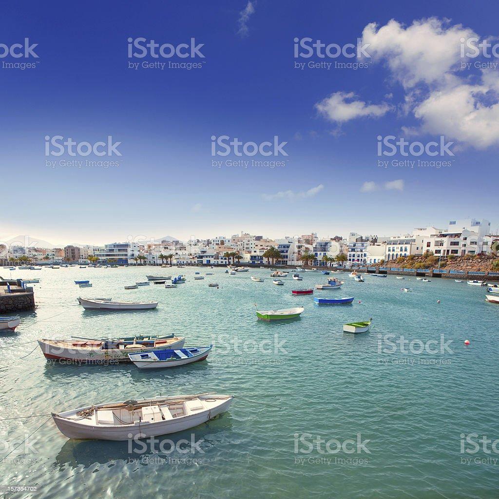 Arrecife in Lanzarote Charco de San Gines boats stock photo