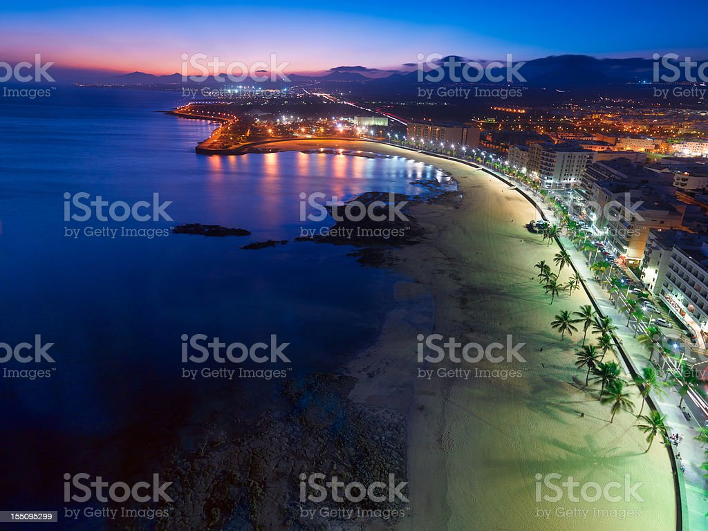 Arrecife, Lanzarote, Aerial View after Sunset stock photo