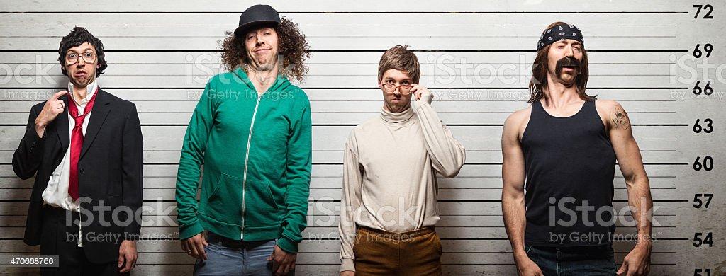 Arrested Men Mugshot at Police Station stock photo