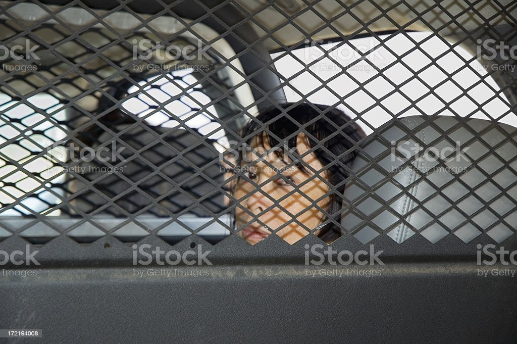 Arrested Woman in Police Car royalty-free stock photo