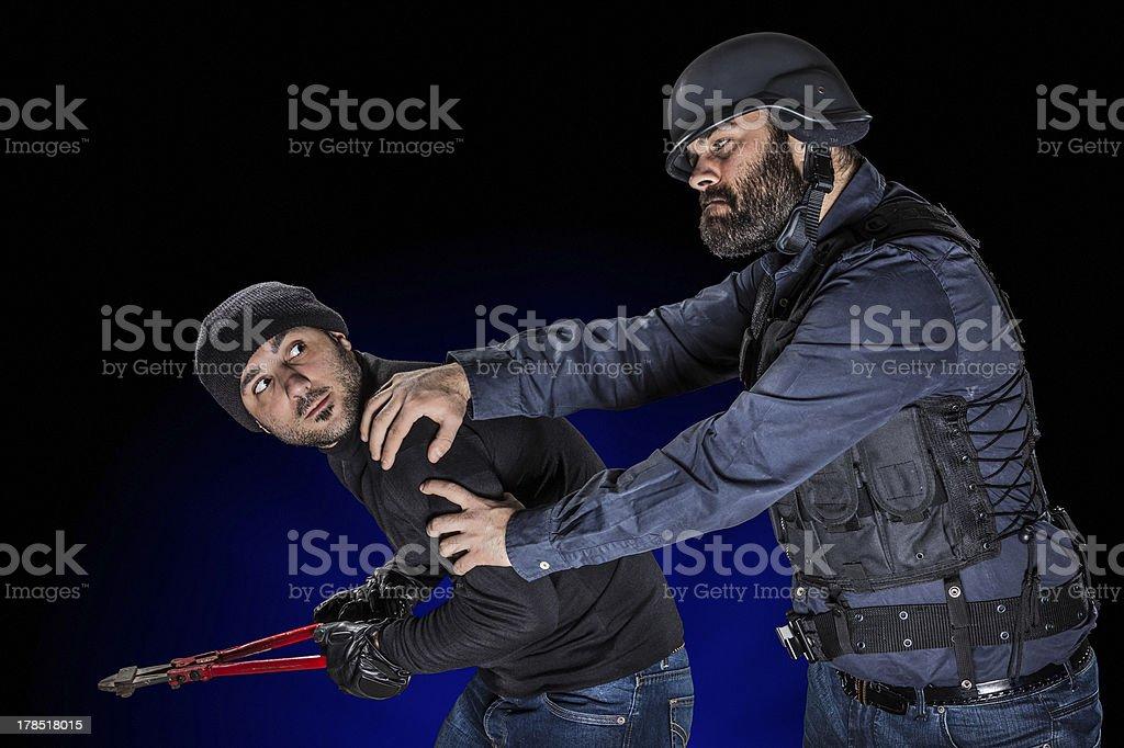 Arresting a Burglar stock photo