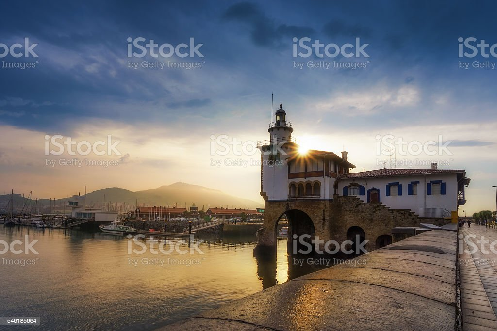 Arriluze in Getxo at sunset stock photo
