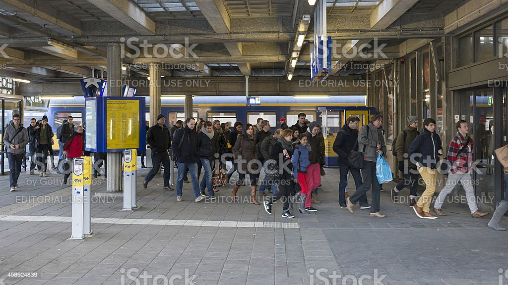 Arrival at Enschede train station stock photo