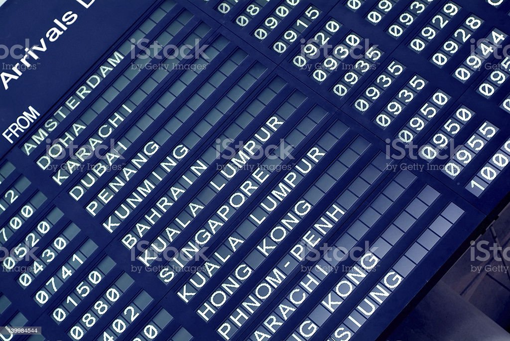 Arrival board at an airport royalty-free stock photo