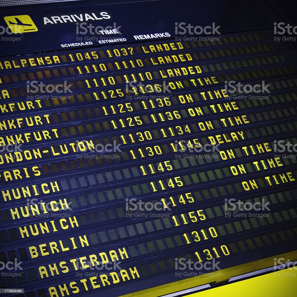 Arrival Board royalty-free stock photo