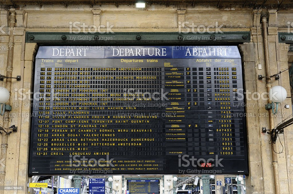 arrival departure board at Gare du Nord Paris France royalty-free stock photo