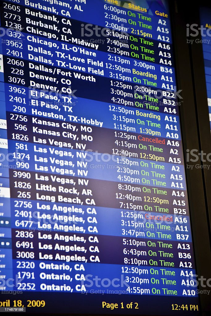 Arrival Departure board at the airport stock photo