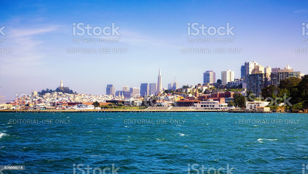 Arrival in San Francisco by sea stock photo