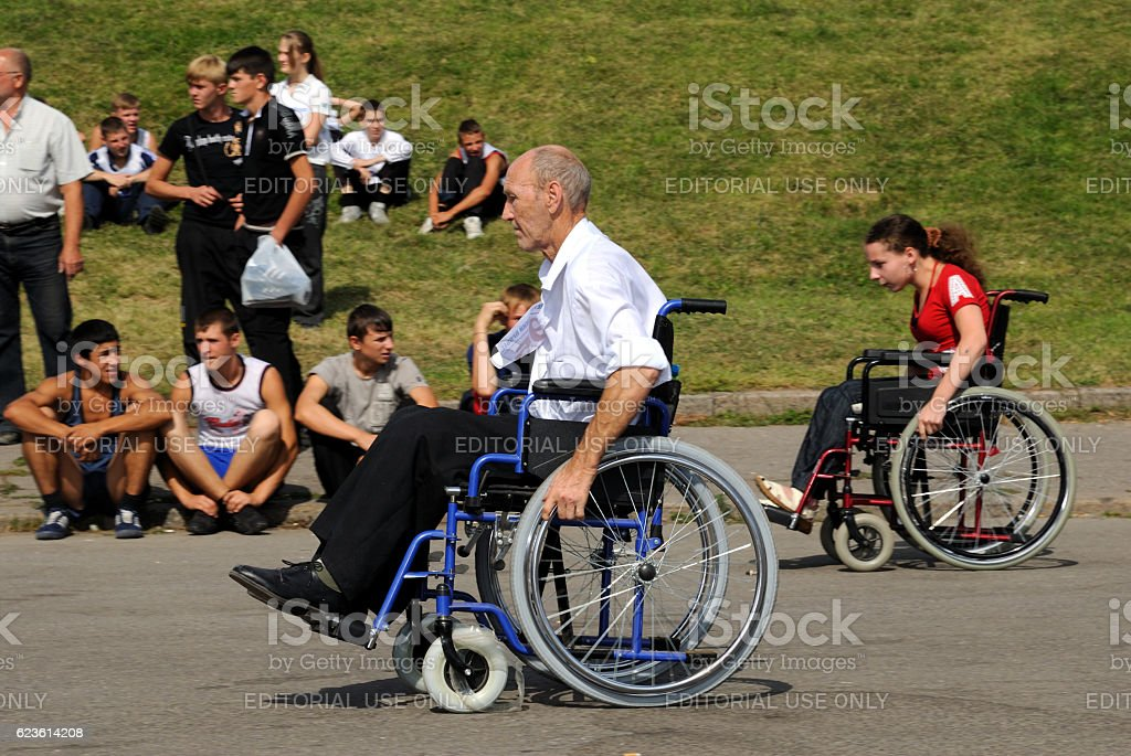 Arrival of invalids on wheelchair. stock photo