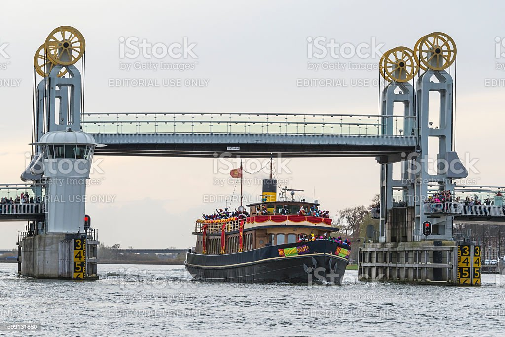Arrival of Sinterklaas in the city of Kampen stock photo