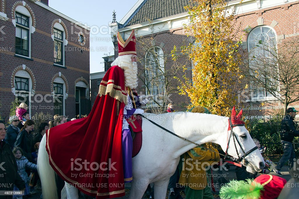 Arrival of Sinterklaas stock photo