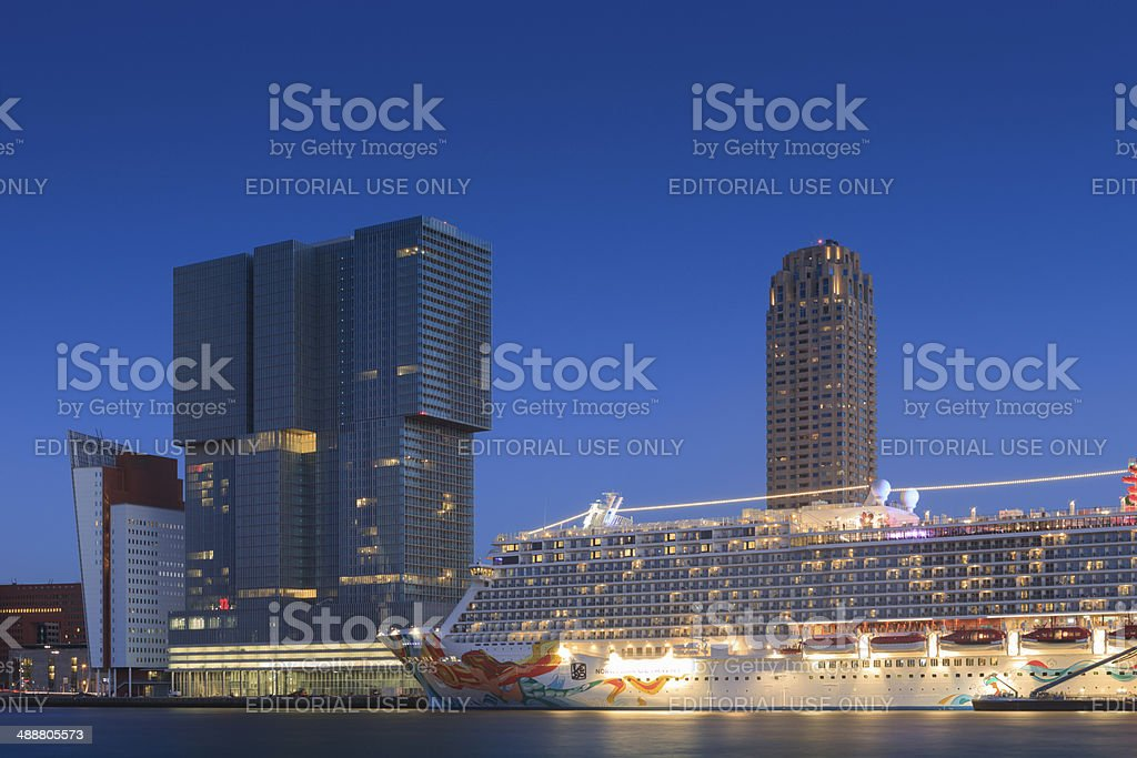 arrival of the Norwegian Getaway in Rotterdam stock photo