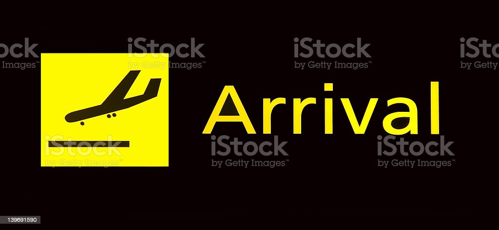 arrival sign at airport royalty-free stock photo