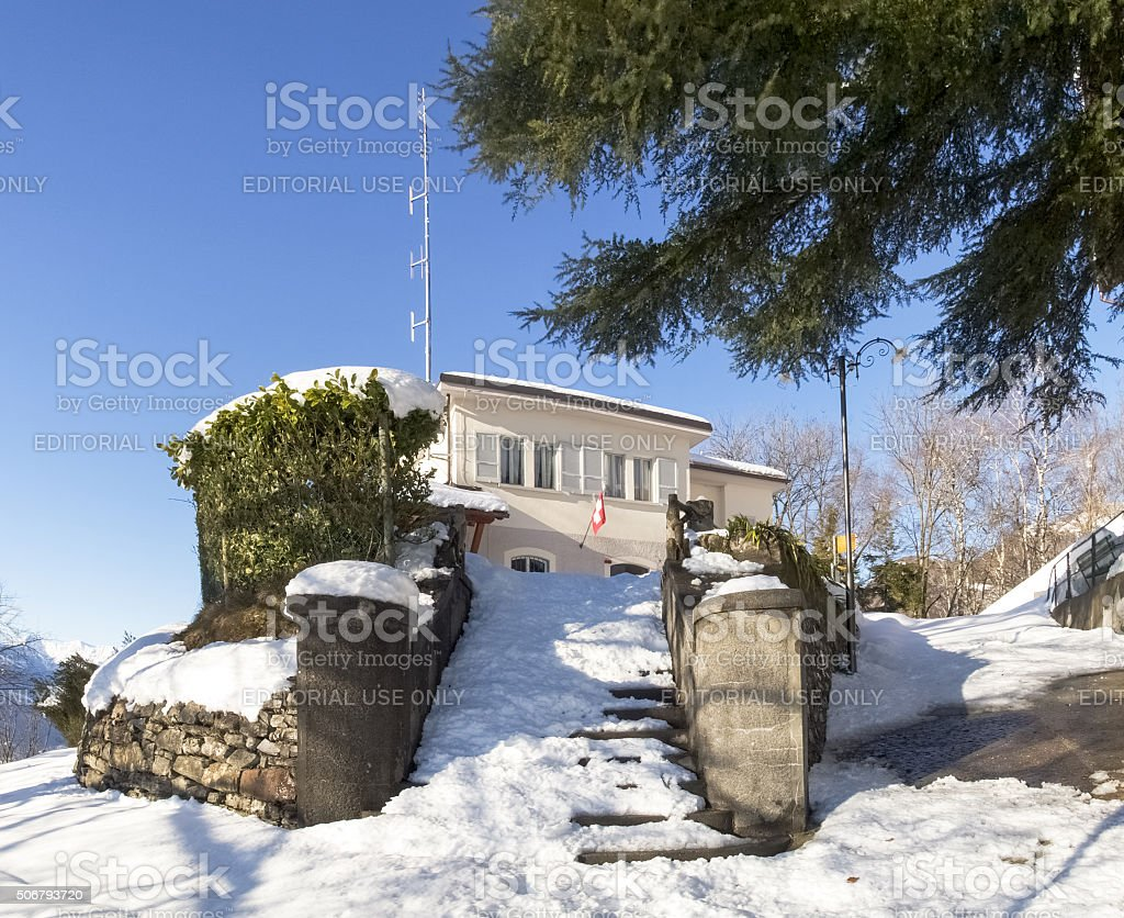 Arrival station of the funicular stock photo
