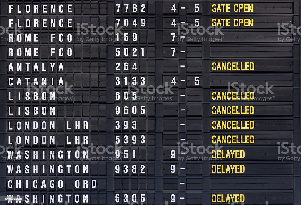 arrival-departure board stock photo