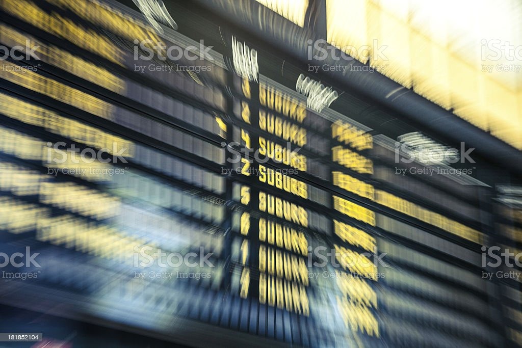 Arrival/Departurs board in a train station stock photo
