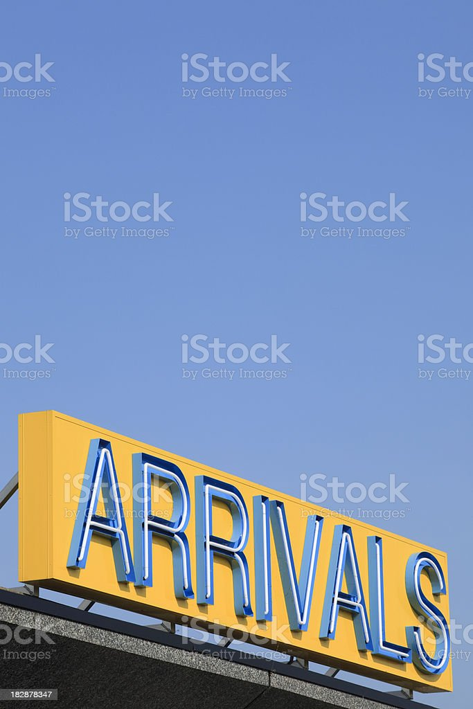 arrivals sign at an airport royalty-free stock photo