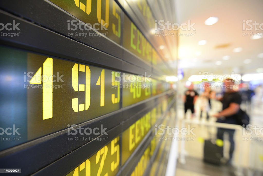 Arrivals/departures board stock photo