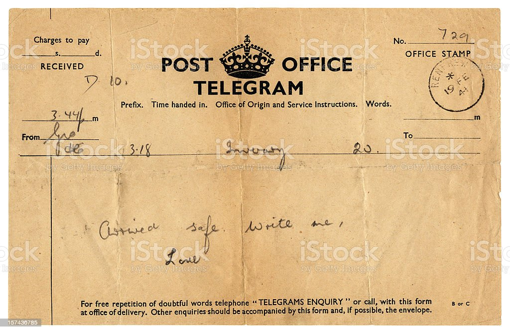 'Arrived safe' telegram to Scotland, 1941 stock photo