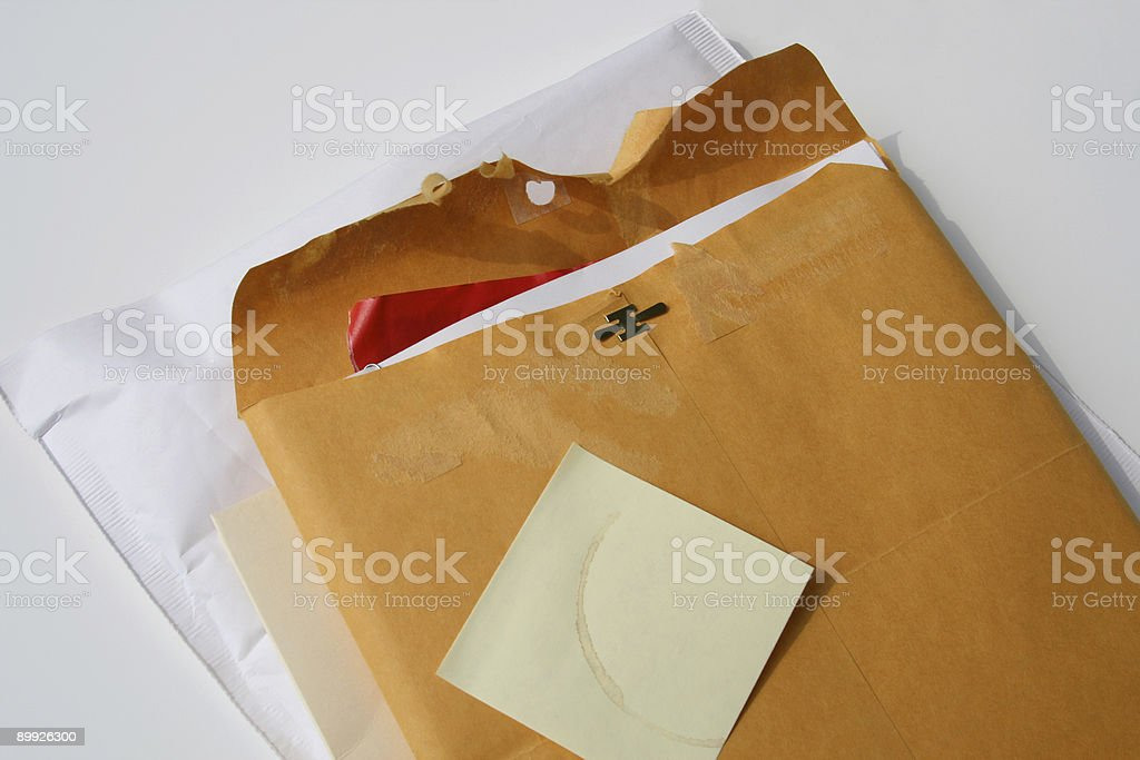 Arrived Today: Manila Envelope with Blank Post-it Note royalty-free stock photo