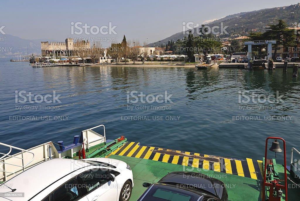 arrivel with RoRo ferry boat at torri del Benaco royalty-free stock photo