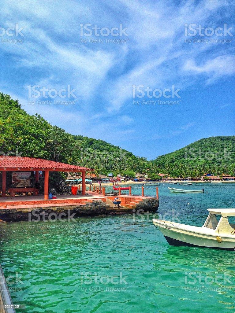 Arriving at Las Gatas Beach stock photo