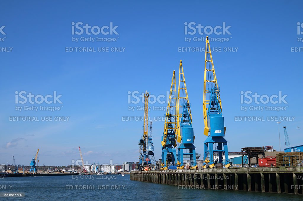 Arriving at Port of Ipswich, River Orwell, Suffolk stock photo