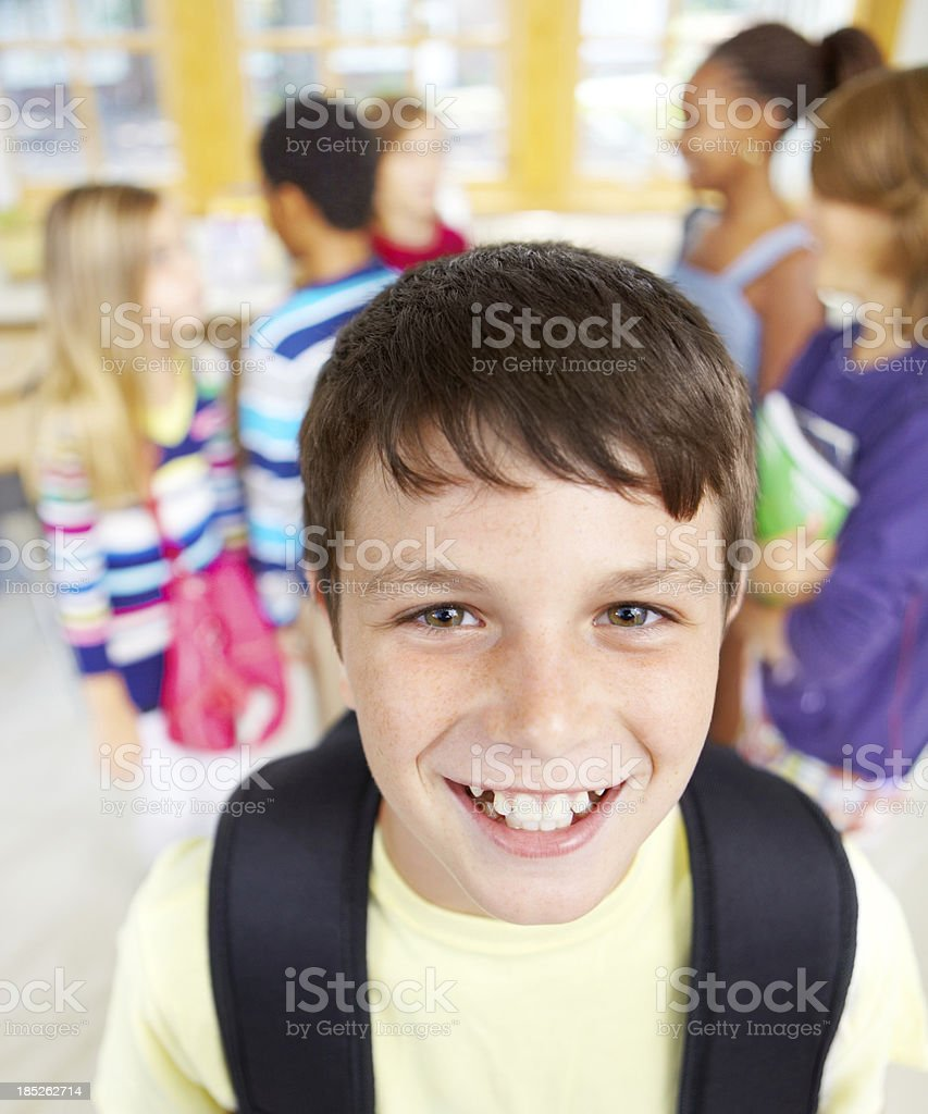 Arriving at school completely prepared stock photo