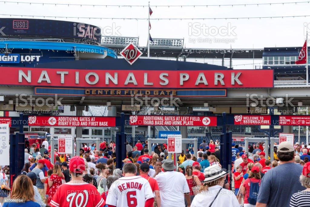 Arriving at the Nationals Baseball Stadium stock photo