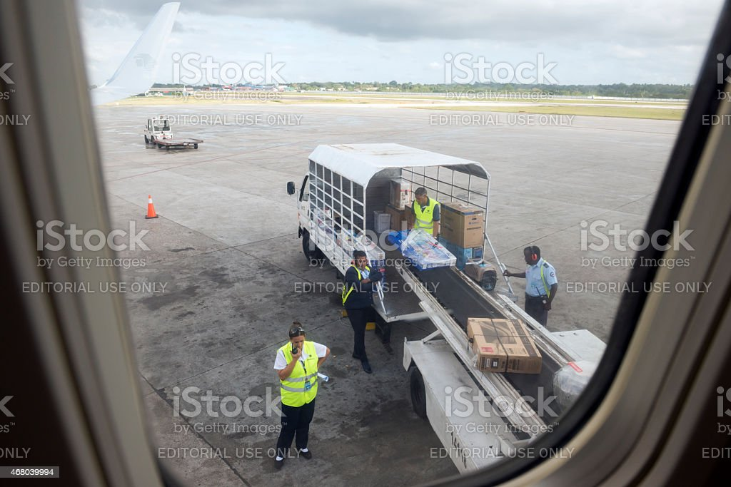 Arriving cargo and luggage at airport in Havana, Cuba stock photo