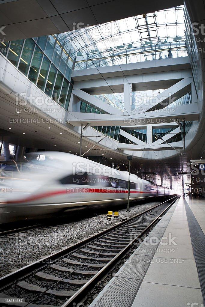Arriving ICE train at Frankfurt International Airport stock photo